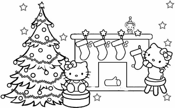 desenho da Hello Kitty de natal para colorir