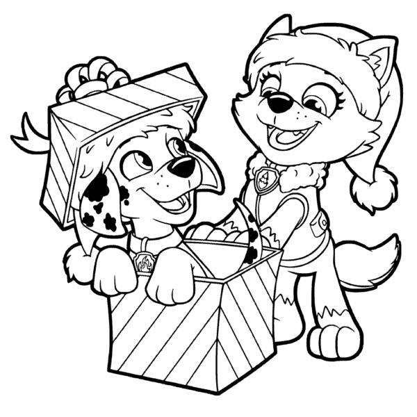desenho de natal da Patrulha Canina para colorir