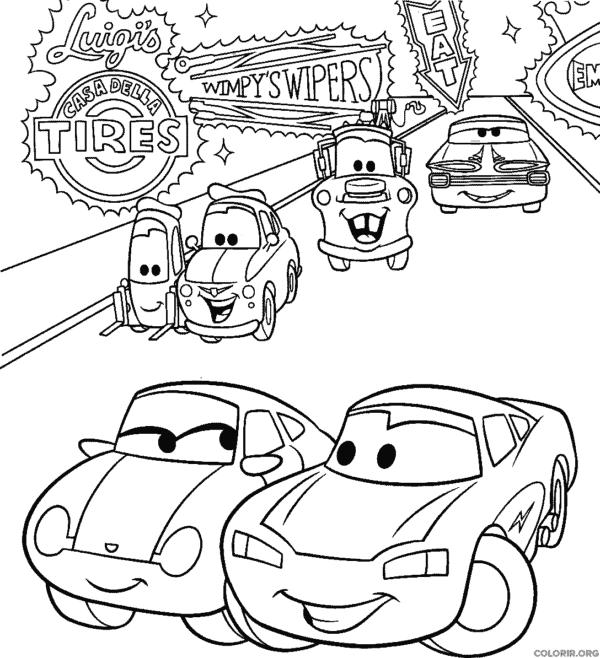 desenho filme carros para pintar
