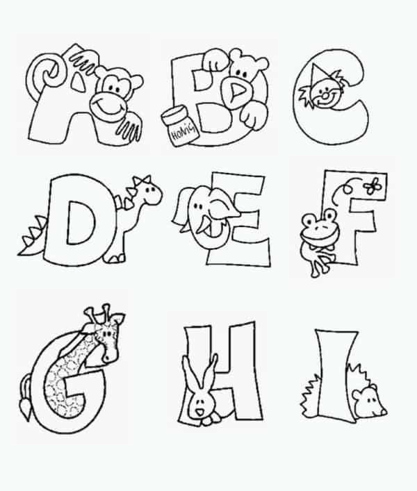 desenhos e alfabeto para colorir