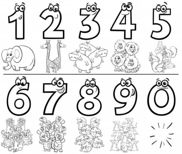 atividade simples de matematica com numeros para colorir