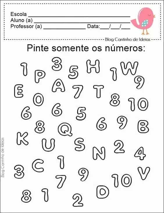 atividade de matematica para pintar os numeros
