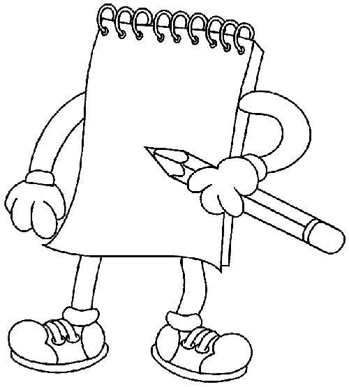 desenho simples de volta as aulas para colorir