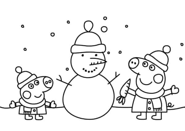 desenho da Peppa Pig na neve para colorir
