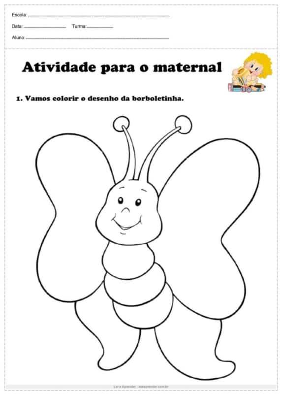 atividade de colorir para maternal