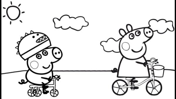 desenho Peppa Pig e George para colorir