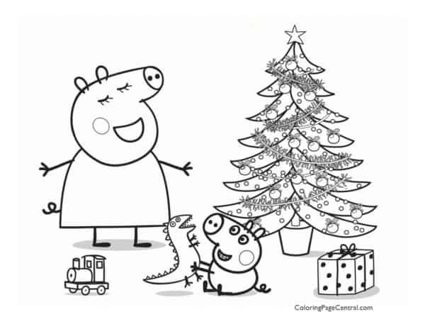 desenho de natal da Peppa Pig para colorir