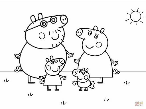 desenho da familia da Peppa Pig para colorir
