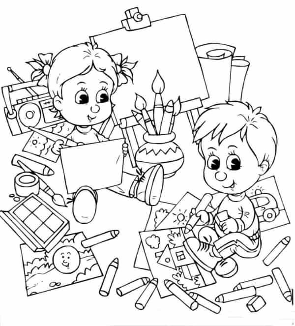 desenho de volta as aulas para imprimir gratis