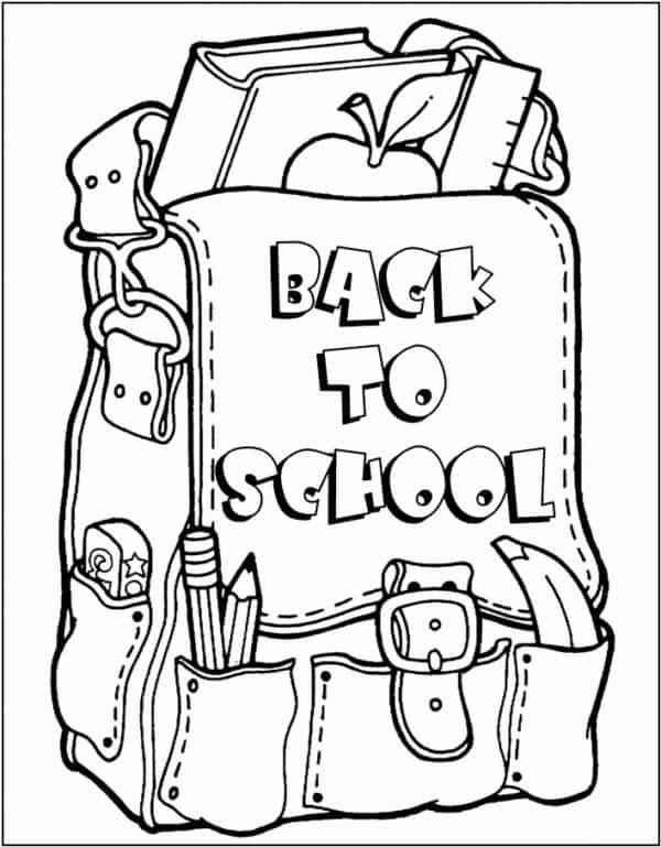 desenho de volta as aulas para colorir