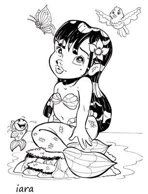 desenho da Iara para colorir gratis