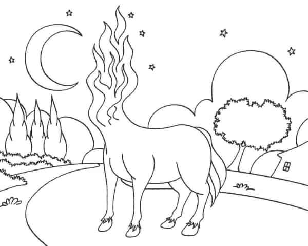 desenho para colorir da Mula Sem Cabeca