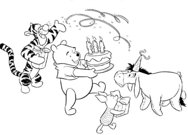 aniversario pooh para colorir
