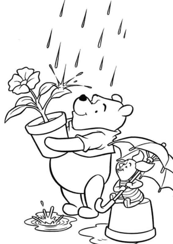 pooh com leitao na chuva
