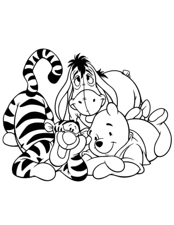 tigrao io e pooh para colorir
