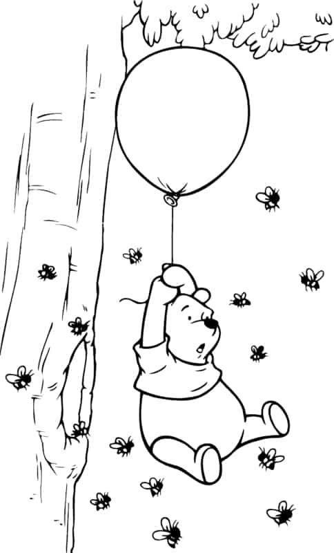 ursinho pooh com abelhas para colorir
