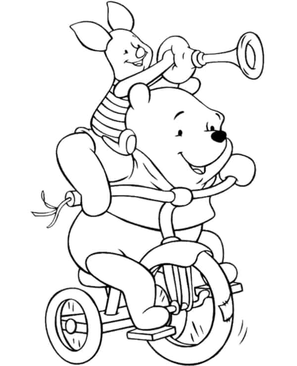 ursinho pooh com leitao na bicicleta