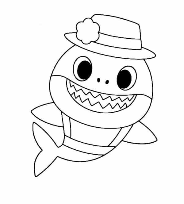 desenho simples baby shark para pintar