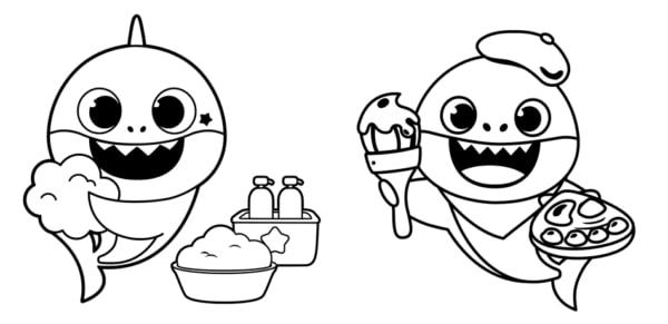 desenhos simples baby shark
