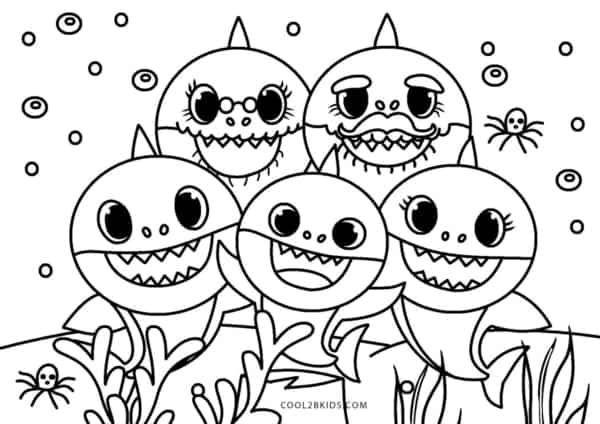 desenho familia baby shark para colorir