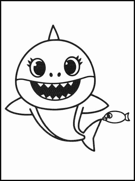 desenho simples de baby shark com peixe
