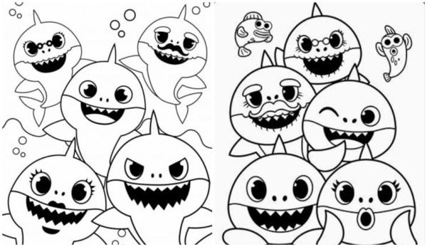 desenhos familia baby shark para pintar