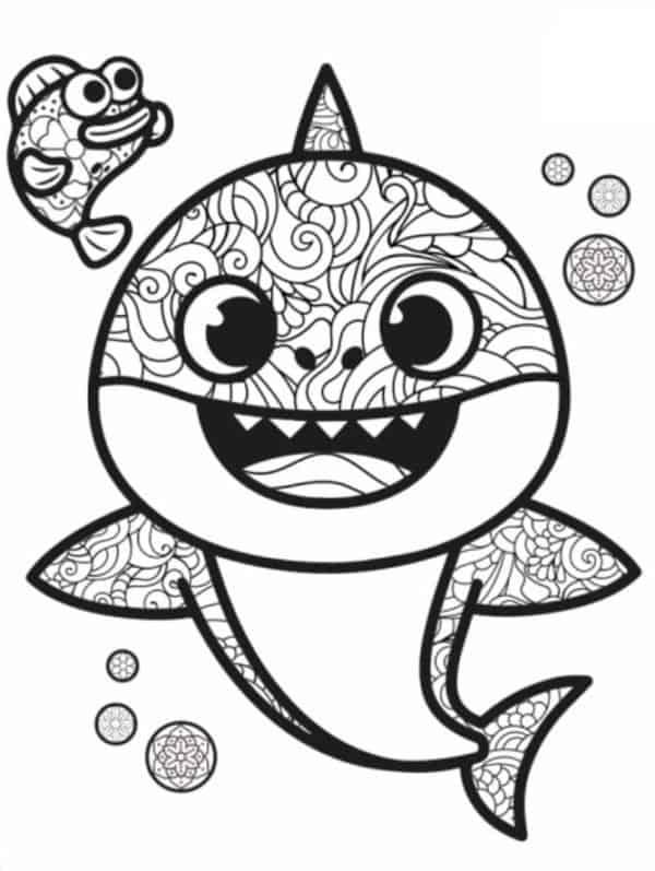 desenho baby shark com detalhes para pintar