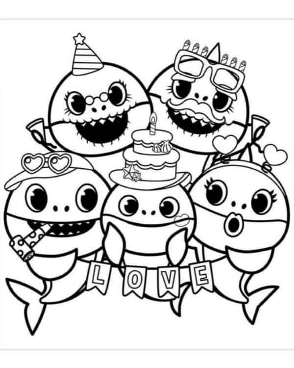 desenho divertido familia baby shark para colorir