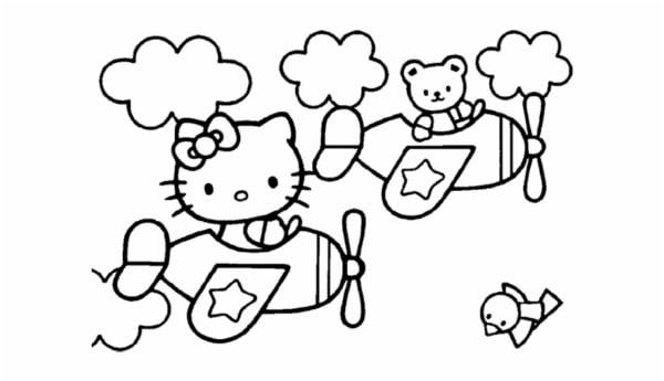 Hello Kitty no aviao para colorir