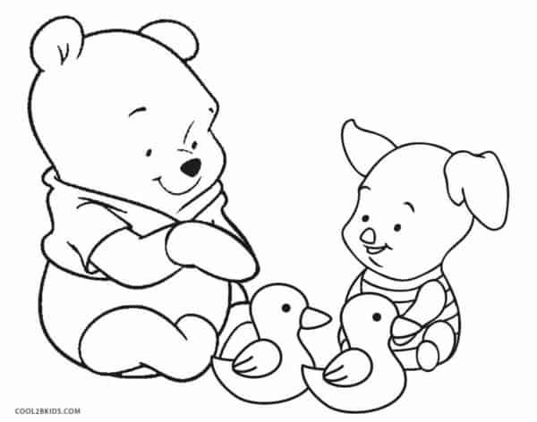 desenhos fofos para colorir do Pooh e Leitao
