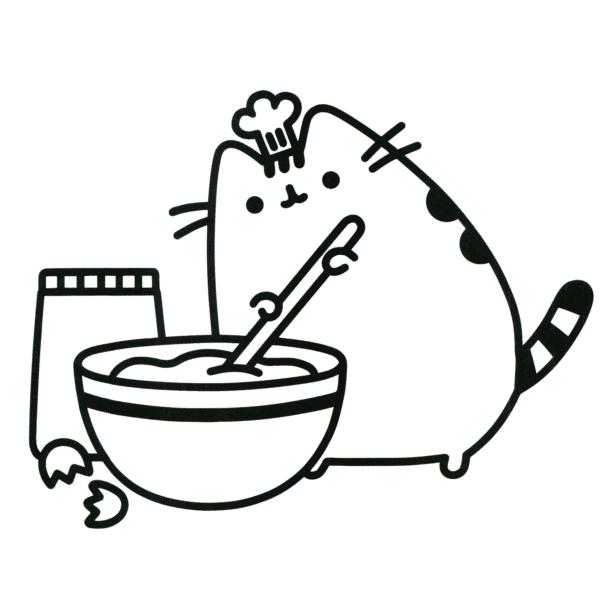 Pusheen cozinhando