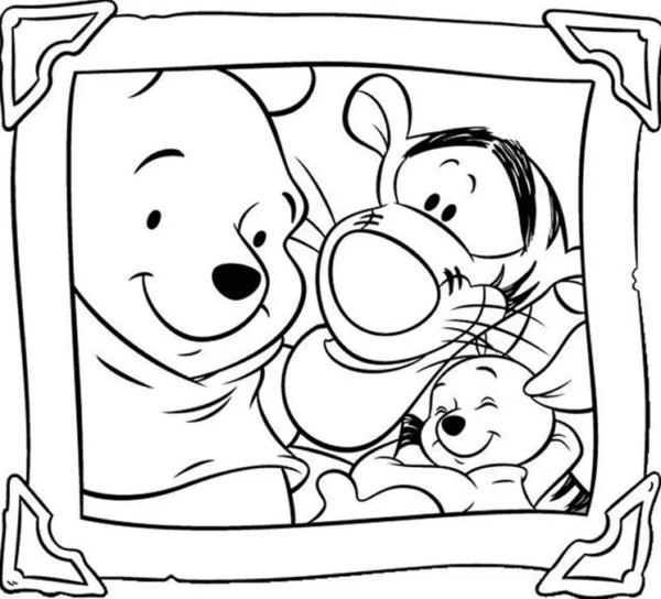 Retrato da turma do Pooh para colorir