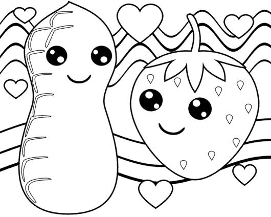 amendoim e morango para colorir