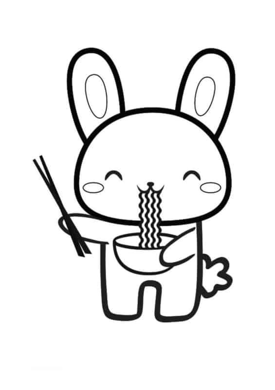 coelhinho comendo lamen
