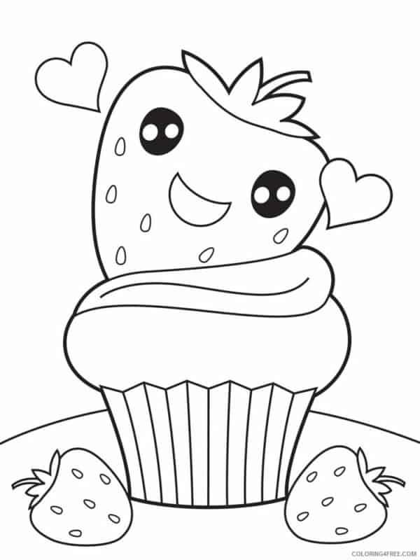 cupcake de morango fofo