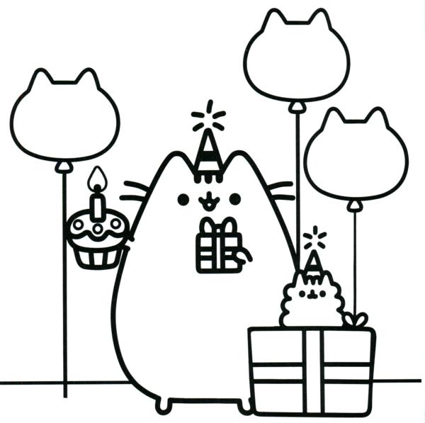desenho de aniversario Pusheen