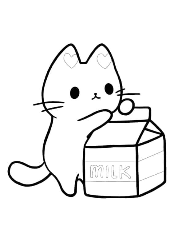 desenhos fofos para colorir (gatinho com leite)