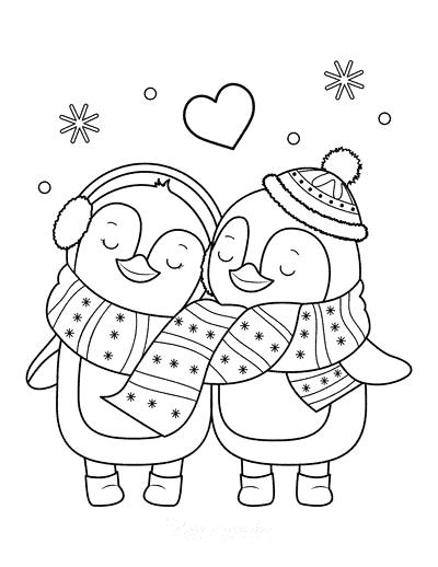 desenho de pinguins fofos
