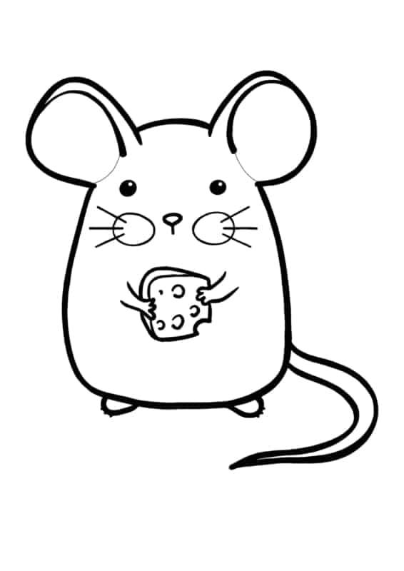 desenhos fofos para colorir (ratinho com queijo)