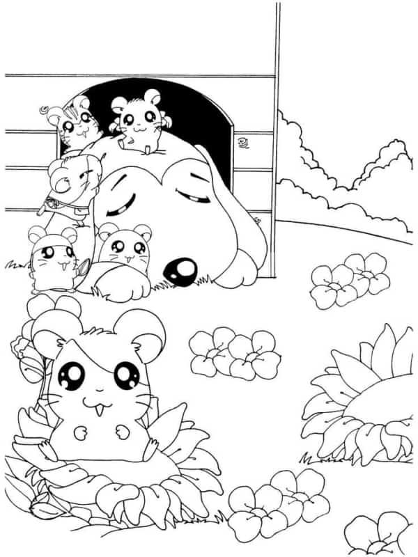 desenhos fofos para colorir (turma Hamtaro)