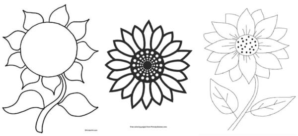 desenhos simples de girassol para colorir
