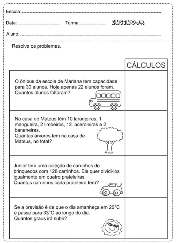 atividade com problemas de matematica para 2° ano