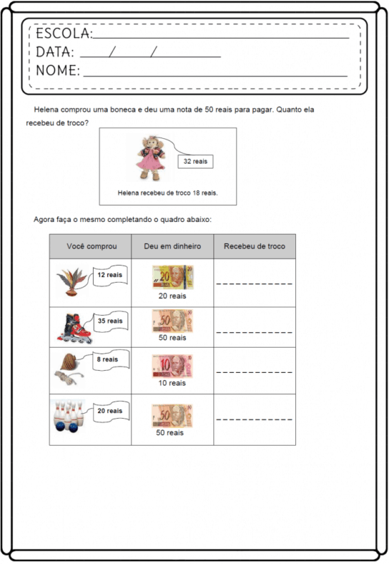 atividade de matematica para criancas
