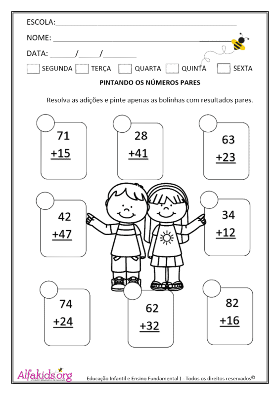 atividade para estudar numeros pares