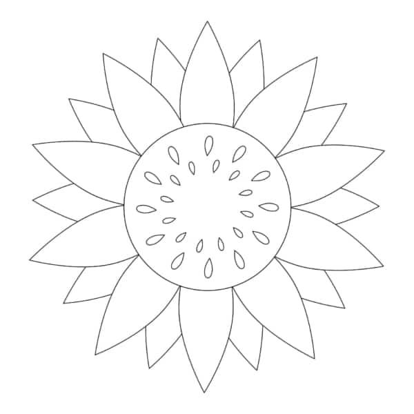 flor de girassol simples de pintar