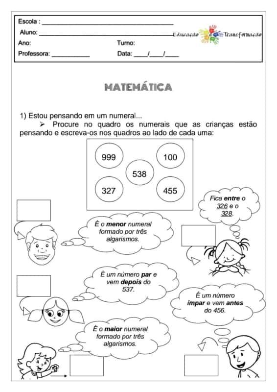licao de matematica para imprimir