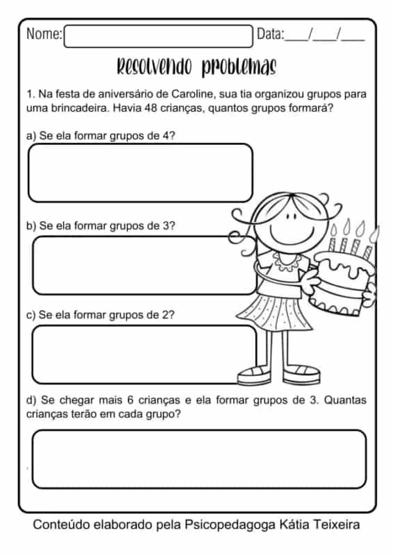 atividades de 3° ano com problemas de matematica para resolver