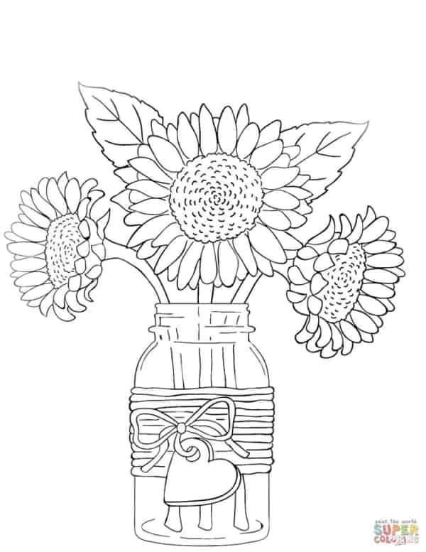 flores de girassol em vaso para colorir