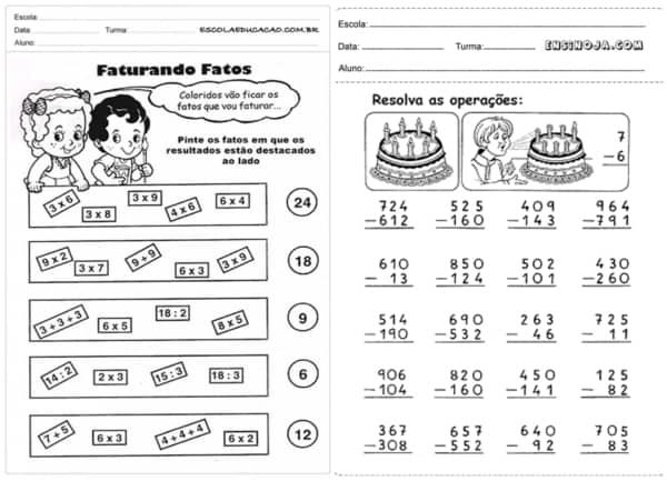 atividades de matematica de 3° ano