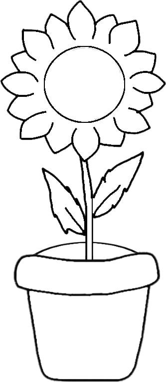 desenho simples de girassol em vaso para pintar